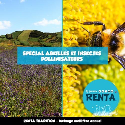 RENTA TRADITION - Mélange Mellifère et Pollinifère Annuel Spécial Abeilles et Insectes Pollinisateurs