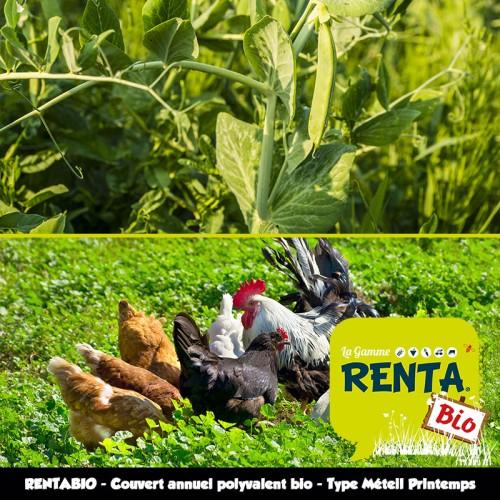 RENTA BIO - Couvert Annuel Polyvalent Bio* - Type Méteil de Printemps pour Engrais Verts et Parcours Volailles