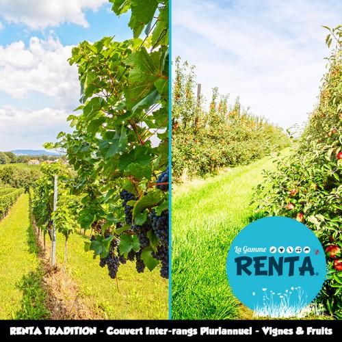RENTA TRADITION - Couvert Inter-rangs Pluriannuel pour Viticulture et Arboriculture – Sols Normaux et Acides