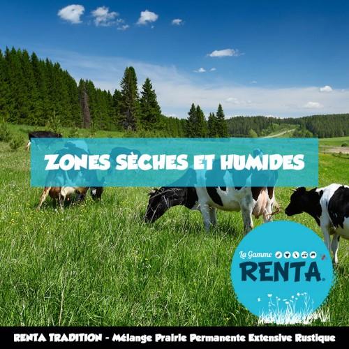 RENTA TRADITION - Mélange Prairie Permanente Extensive Rustique pour Zones Sèches et Humides