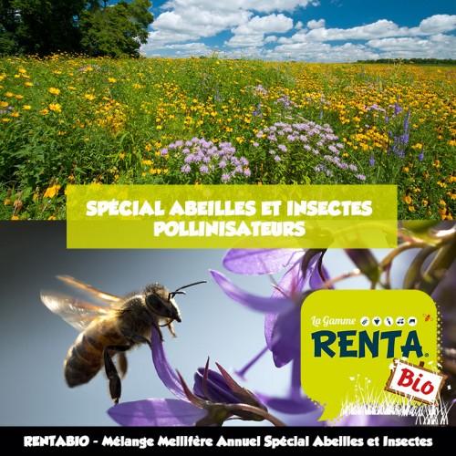 RENTA BIO - Mélange Mellifère et Pollinifère Spécial Abeilles et Insectes Pollinisateurs (minimum 70% Bio) **