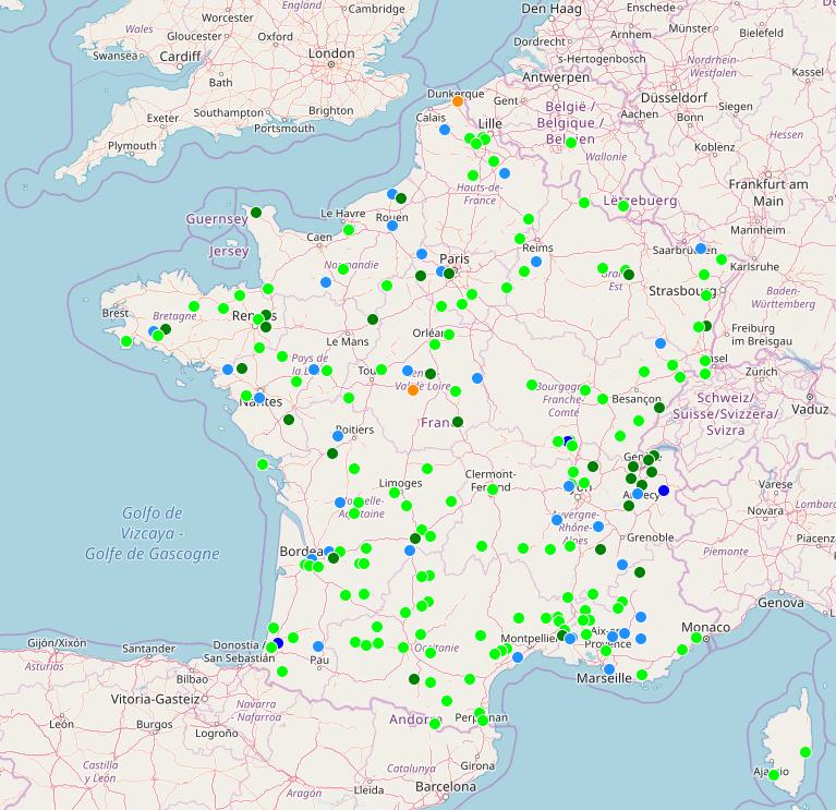 Carte des points de livraison