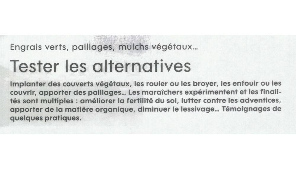 Tester les alternatives - Biofil
